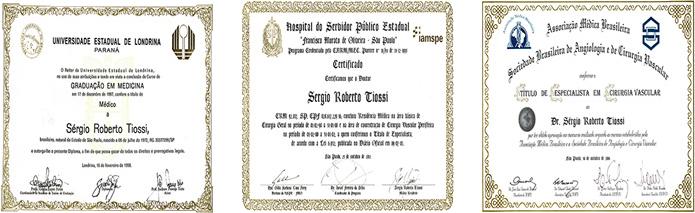 Certificados de Dr. Sérgio Tiossi
